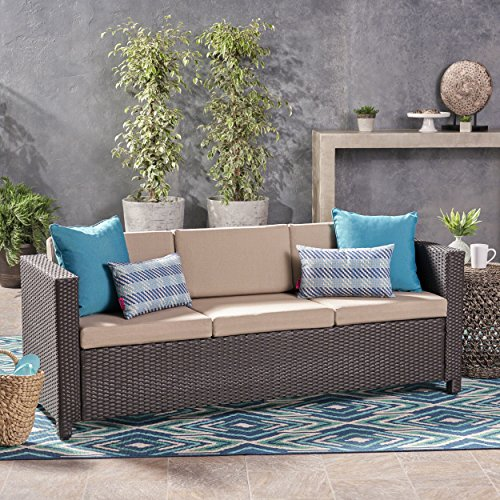 Great Deal Furniture 304797 Cony Outdoor Wicker 3 Seater Sofa, Dark Brown with Beige Cushions,