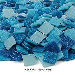 Milltown Merchants™ Light Blue Mosaic Tiles - Bulk Mosaic Tile Assortment - 3/4 Inch (20mm) Mixed Colors Venetian Glass Tile - 1 Pound (16 oz) Craft and Backsplash Tile