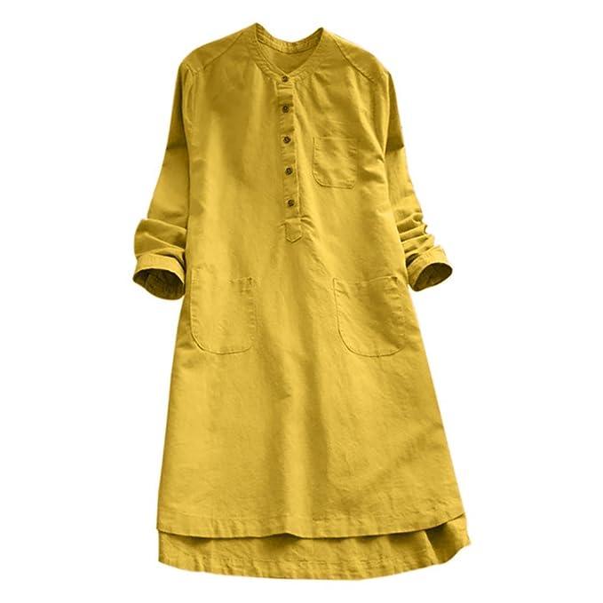 Overdose Vestido de Mujer Retro de Manga Larga sólido sólido Flojo botón Tapas O-Cuello Blusa Vintage Mini Camisa: Amazon.es: Ropa y accesorios