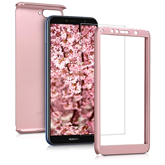kwmobile Cover for Huawei Y6 (2018) - Shockproof Protective Full Body Case with Screen Protector - Metallic Rose Gold