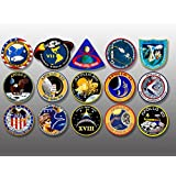 SHEET of 1.5 inch tall All APOLLO Mission Logo Stickers - nasa scrapbook space