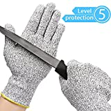 Kuelor Stretchy Cut Resistant Gloves-Level 5 Protection, Food Grade, Safty Gloves for Hand Protection and Yard-work, Kitchen Glove for Cutting and Slicing (Medium)