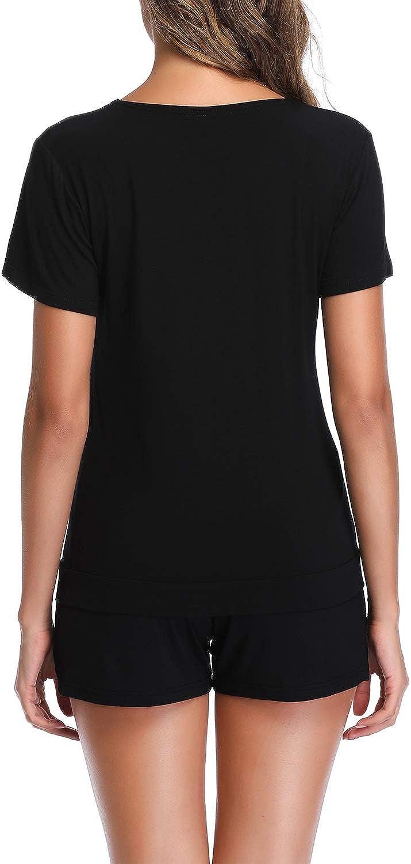Aranmei Womens Short Pajama Sets Short Sleeve V Neck Sleepwear Ladies Pjs Sets