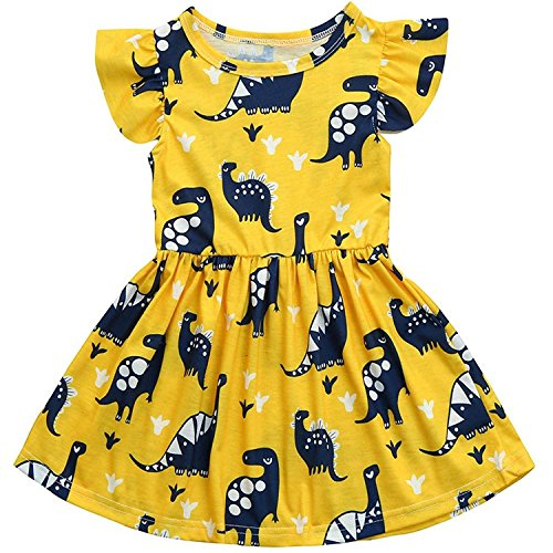 Unmega Toddler Kid Baby Girl Dinosaur Dress Bubble Sleeve Dress Ruffle Clothes Outfit (Yellow, 100/3-4 Years) ()