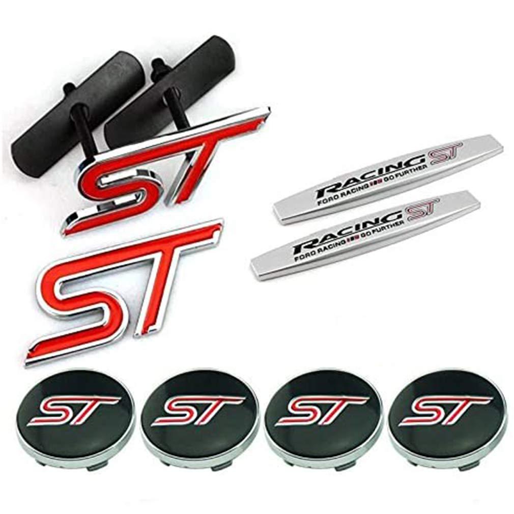 8pcs Sets AM79 ST Racing Front Grille + Fender Side Sticker + Wheel Hub Caps + Back Sticker Car Emblem Badge For Ford Focus 2 Focus 3 FIESTA F-150 Kuga FUSION ESCAPE EDGE