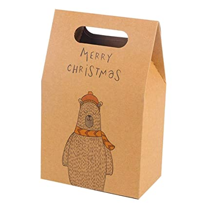 10pcs Cajas de Kraft, Caja de Dulces de Papel para la Boda Aniversario Navidad,