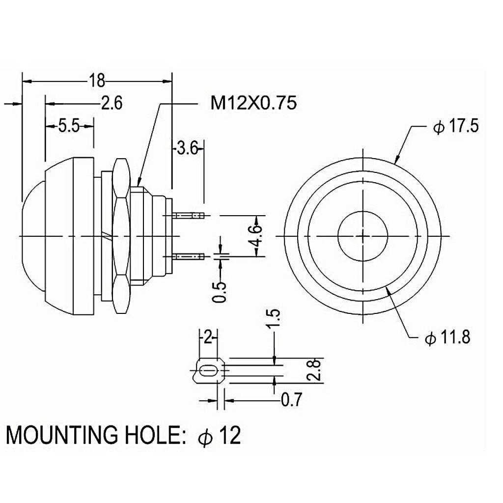 rot Auto//Boot 17/mm 5/St/ück veroda Wasserdicht Momentary Push Button Switch f/ür Klingeln