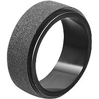 LANHI Unisex's 8mm Stainless Steel Spinner Ring Black Matte Sand Blast Finish
