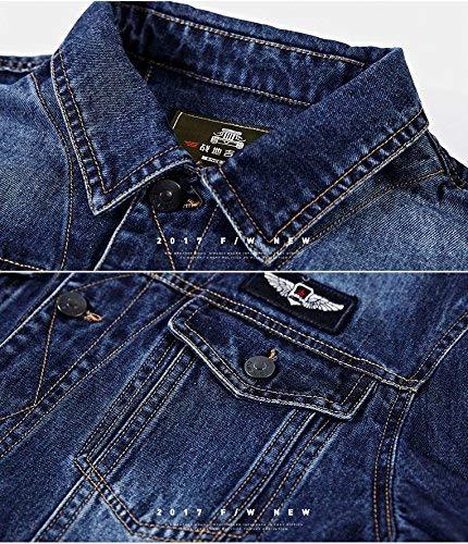 Jeans Comode Maniche Tasca Cappotto Fashion Casual A Con Blu Uomo Denim Hx Da Abiti In Cappuccio Laterali Taglie Giacche Bottoni Lunghe zwB01T