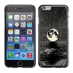GOODTHINGS Funda Imagen Diseño Carcasa Tapa Trasera Negro Cover Skin Case para Apple Iphone 6 - Luna dibujo a lápiz de mar de la noche de tinta