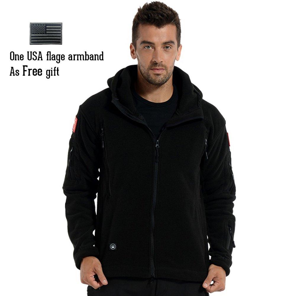 ReFire Gear Men's Warm Military Tactical Sport Fleece Hoodie Jacket ( Large, Black) by ReFire Gear (Image #2)