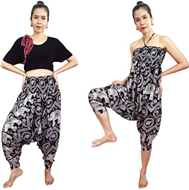 2 In 1 Harem Pants And Dress Women S Hippie Bohemian Yoga Pants Unique Comfy One Size Black At Amazon Women S Clothing Store