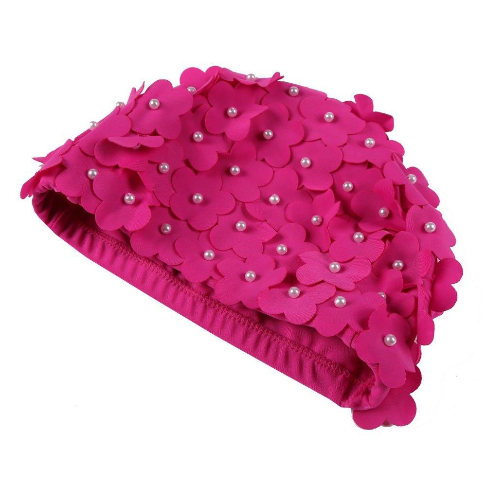 Women Petal Swimming Cap Ladies Swimming Hat Long & Short Hair Flower Bathing Caps Girls Retro Swim Cap