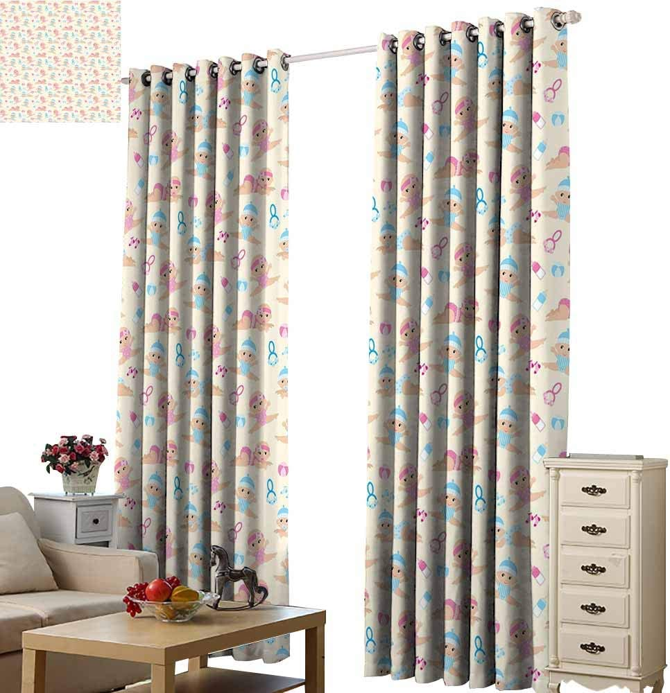 3D Digital Printing Curtain Baby Baby Boy Girl Crawling Lying Down Rattle Ball Milk Bottle Pattern Brother Sister Ivory Blue Pink Living Room Bedroom Shade W72 x H63
