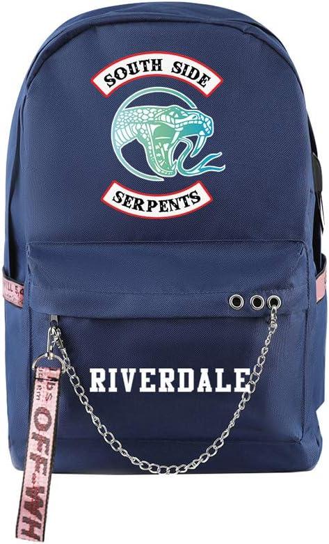 Riverdale South Side Serpents Backpack Laptop Bag Travel Backpack Cool Zip Backpack for Men Women Teens