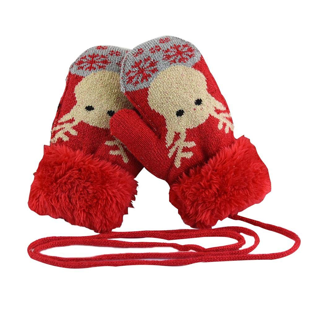 Children's Ski Gloves   Christmas  Deer  Winter Warm Knit Mittens with String Plush-Lined Cute Gloves, Thickened Unisex Winter Warm Knitted Gloves Mittens blue--net