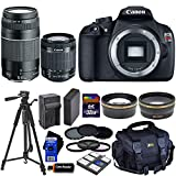 Canon EOS Rebel T5 DSLR Camera with 18-55mm IS II & 75-300mm III Zoom Lenses (International Version) + Tele & Wide Lenses + ND Filters ND2,ND4,ND8 + 14pc 32GB Deluxe Accessory Kit