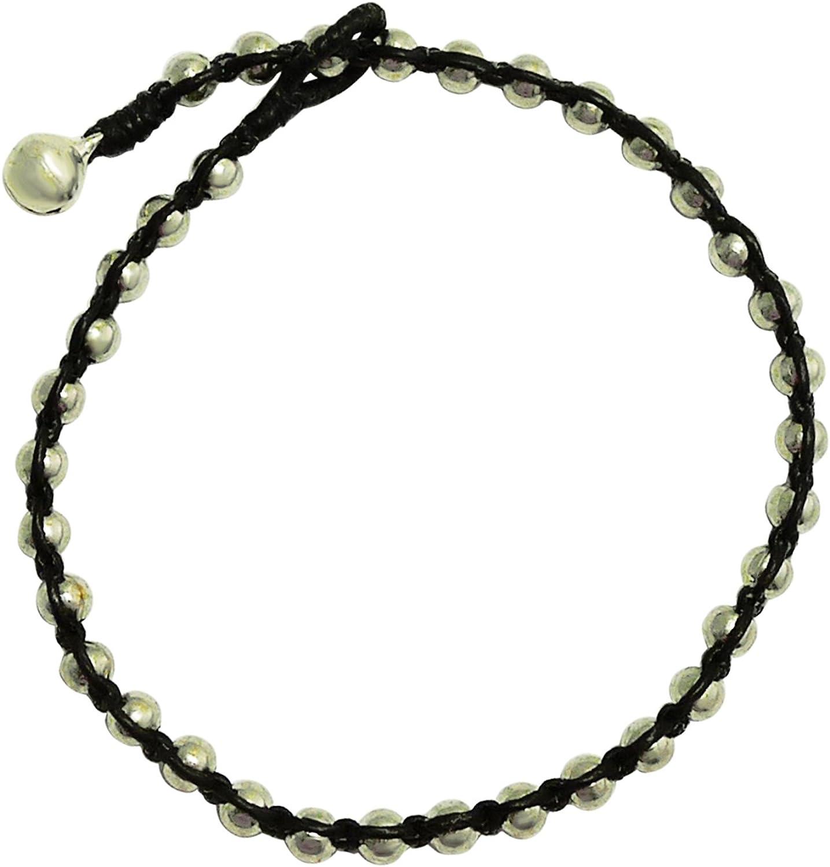 Bijoux De Ja Handmade Silver Tone Bead Twine Tennis Anklet Bracelet 10 Inches (AkSP01)
