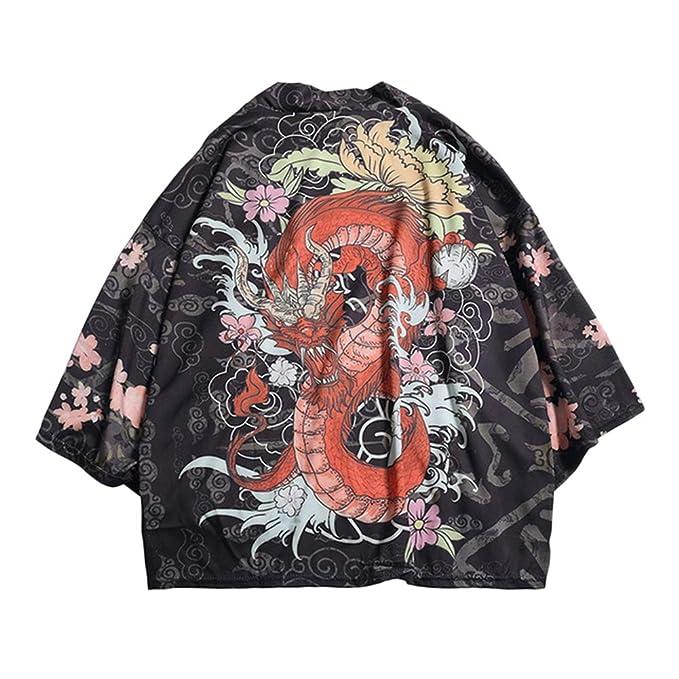 LaoZanA Chaqueta para Hombre Cárdigan Kimono Japón Capa ...