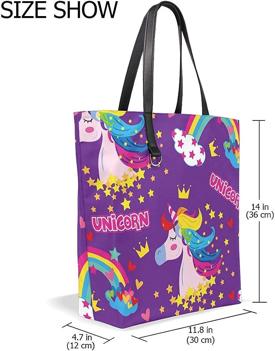 for Womens Leather Lightweight Purse Colorful Rainbow Cloud Unicorn Handbag Tote Bag