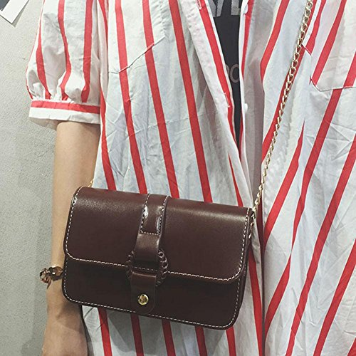 Women Classic Chain Crossbody Bag Widewing Brown PU Messenger Bag Dark Leather Mini Shouder dxHz0gzqX