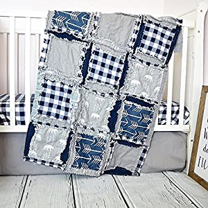 Image of Bear Crib Set - Gray/Navy - Adventure Baby Bedding with Quilt, Skirt, Sheet Home and Kitchen