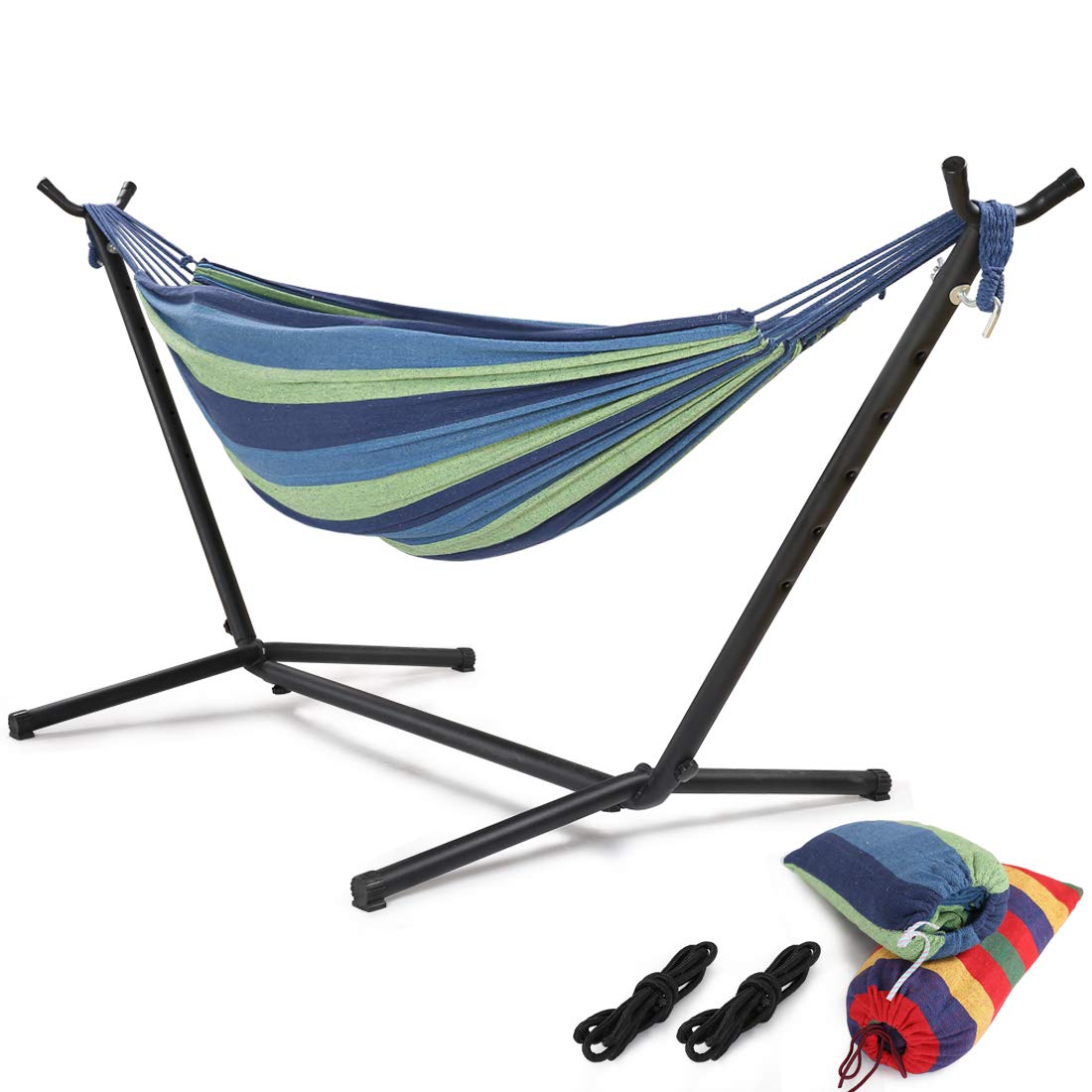 HONGJUN Double Hammock with Steel Stand - Space Saving 2 Person Adjustable and Portable Stand Hammocks,450 Pounds Capacity(Blue Stripe) by HONGJUN (Image #1)
