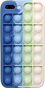 EVERMARKET Push Pop Bubble Fidget Sensory Toys Case for iPhone 7 Plus/ 8Plus, Push Pop Bubble Silicone Case for iPhone 7Plus/iPhone 8Plus, Drop Protection Case 5.5inch (Blue White)