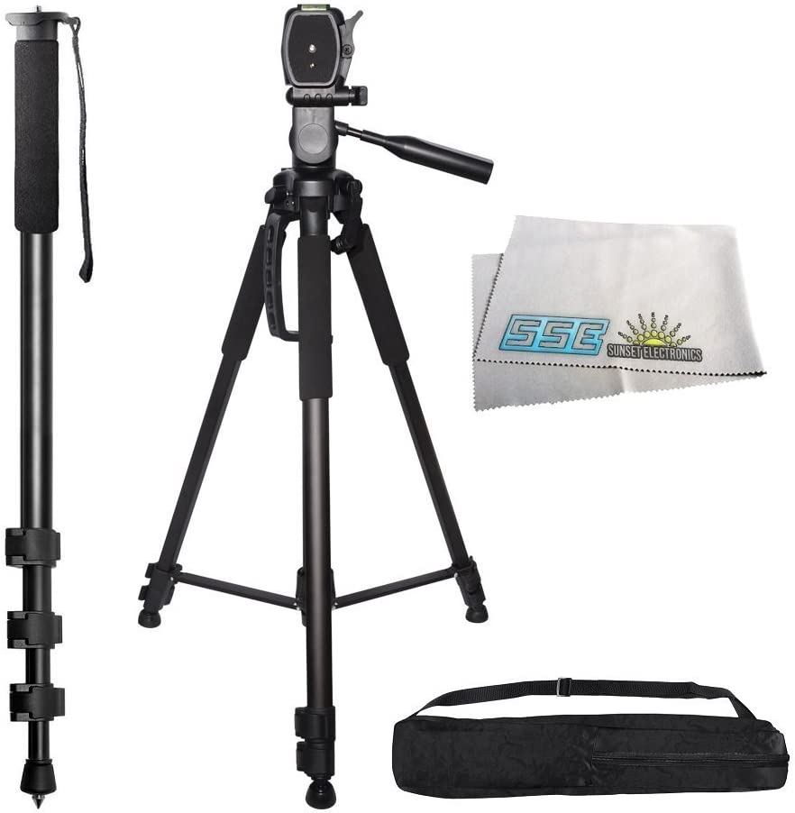 Professional PRO 72 Tripod 3-way Panhead Tilt Motion with Two Built In Bubble Leveling with Deluxe Carrying Case 72 Inch Heavy Duty Monopod for Olympus E-5 E5 E-30 E30 E-420 E420 E-450 E450 E-600 E600 E-620 E620 OM-D E-M1 E-M5 OMD EM1 EM5 PEN E-P2 E-P3