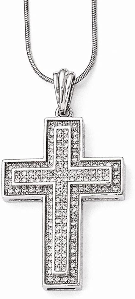 Top 10 Jewelry Gift Sterling Silver /& CZ Brilliant Embers Polished Cross Necklace