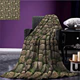 Nature wearable blanket Stones Covered with Moss Rock Formation Forest Peaceful Meditation Theme security blanket Dark Taupe Fern Green size:59''x35.5''