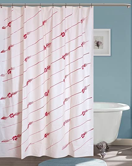 Yellow WeavesTM PVC Hand Painted Red Shower Curtain 52 X 80 Inches