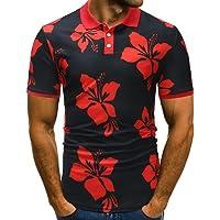 VPASS Mens Buttons Design Plain V-Neck T-Shirt Valueweight Print Floral Half Cardigans Blouse Short Sleeve T Shirt Heavy Cotton Pique Polo Top