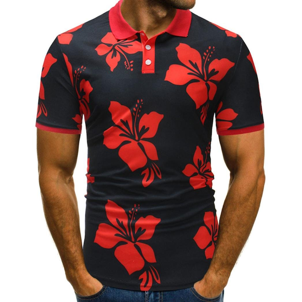 VPASS Mens Buttons Design Plain V-Neck T-Shirt Valueweight Print Floral Half Cardigans Blouse Short Sleeve T Shirt Heavy Cotton Pique Polo Top Red)