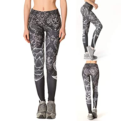 0a8d542483 Amazon.com: Pcongreat 2019 New Sexy Women Lotus Print Gym Workout Leggings  High Waist Push Up Yoga Pants Tights: Clothing