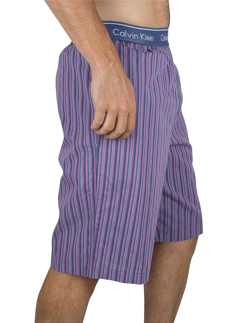 Calvin Klein Hombre Pantalones cortos de rayas logo de la pretina de pijama, Azul, X-Large: Amazon.es: Ropa y accesorios
