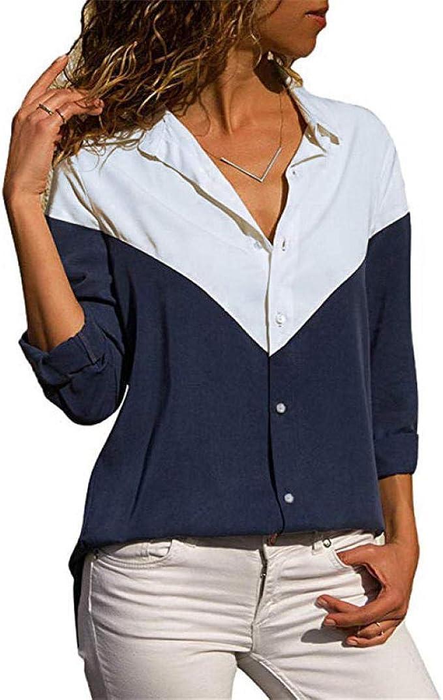 XXL,5- Grigio Scuro Camicetta Moda Donna Stripe Casual Top T Shirt Top Allentato Manica Lunga da Donna