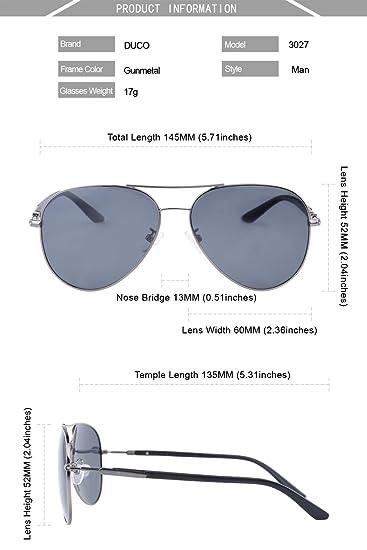 Duco Premium Aviator lunettes de soleil polarisées pour une protection UV 100% hommes femmes 3027 (Marron) eb7KnRJu
