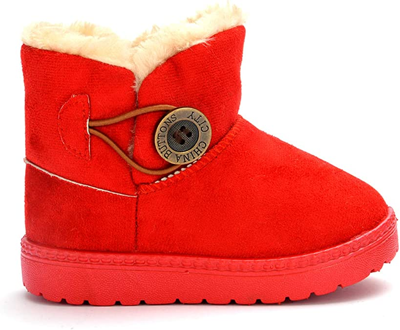 Baby Girls Toddler Slouch Buttons//Sweater Knit Faux Fur Lined Soft Sole Infant Boots