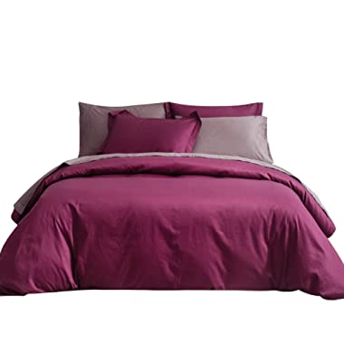 SUSYBAO 3 Pieces Duvet Cover Set 100% Natural Cotton King Size 1 Duvet Cover 2 Pillow Shams Marsala/Burgundy Luxury Quality Super Soft Breathable Durable Fade Resistant Solid Bedding with Zipper Ties