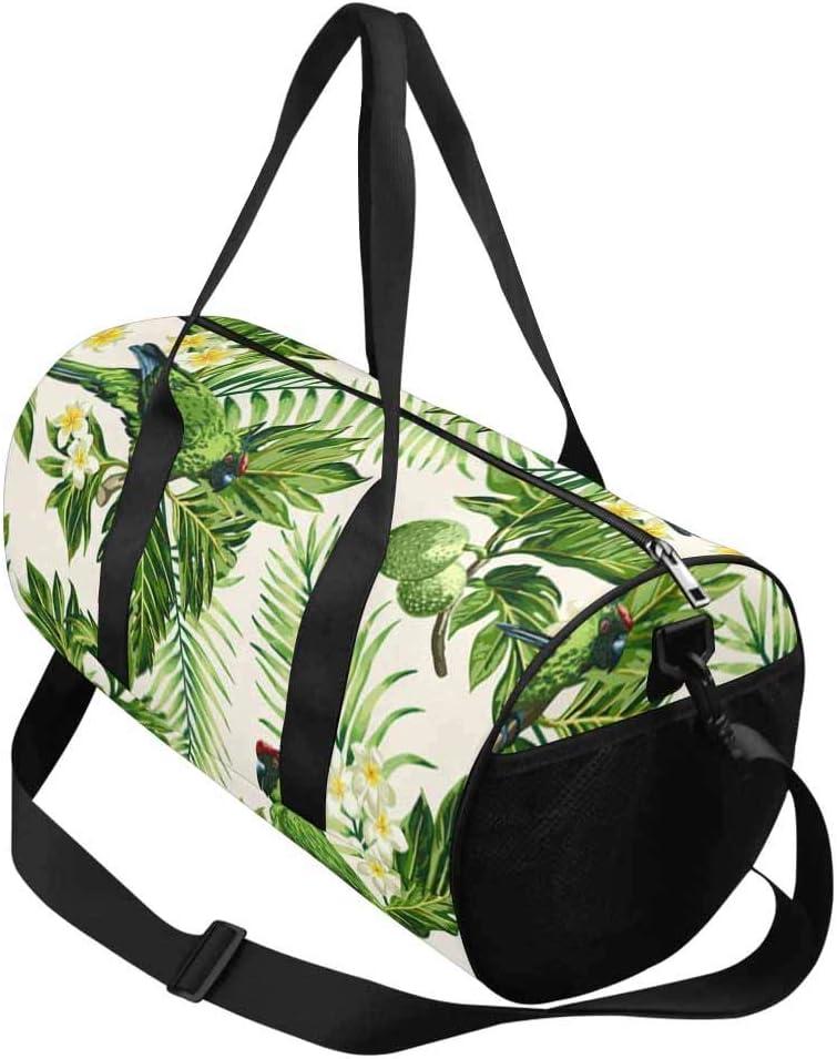 INTERESTPRINT Tropical Breadfruit Parrots Travel Duffle Bag Sports Lightweight Luggage Duffel