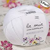 5 Ball%100 Mercerized Cotton Total 8.8 oz. Each 1.76 oz (50g) / 147 Yrds (135m) Super Soft, Dk Light Baby Yarn, White - 2