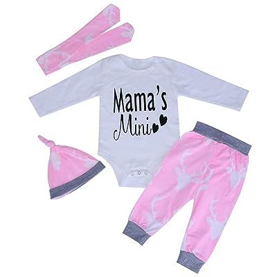 Cute 4pcs Bébé nouveau-né Ensemble de vêtements Barboteuse Pantalon Casquette Bandeau (70cm)