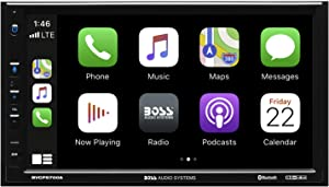 BOSS Audio Systems BVCP9700A Apple CarPlay Android Auto Car Multimedia Player - Double Din, 7 Inch LCD Capacitive Touchscreen, Bluetooth, USB, A/V in, AM/FM Radio, No CD DVD, Multi-Color Illumination