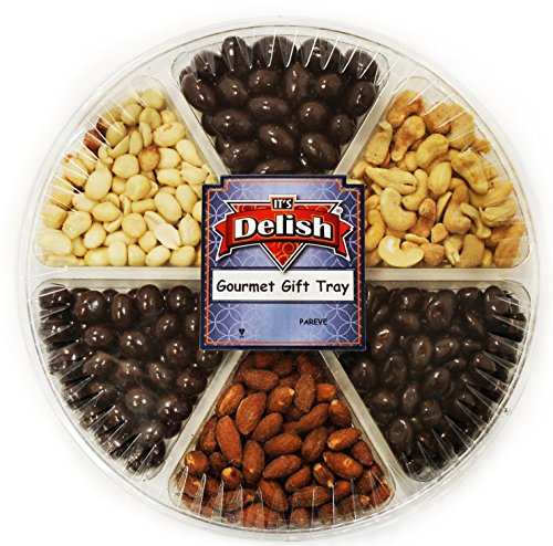 Chocolate Fruit Usa Basket - Gourmet Roasted & Salted Nuts and Panned Chocolate Large Variety Gift Tray 6-Section by Its Delish