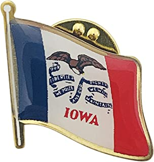 product image for Set of 6 Iowa Single Waving State Flag Lapel Pin - Made in The USA