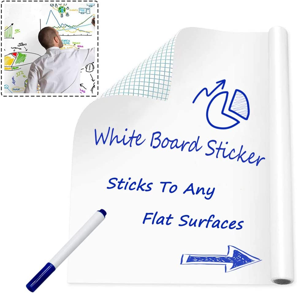 Whiteboard Sticker Vinyl Peel and Stick Self Adhesive Chalkboard Wall Sticker for School / Stores Messages Using / Office / Home