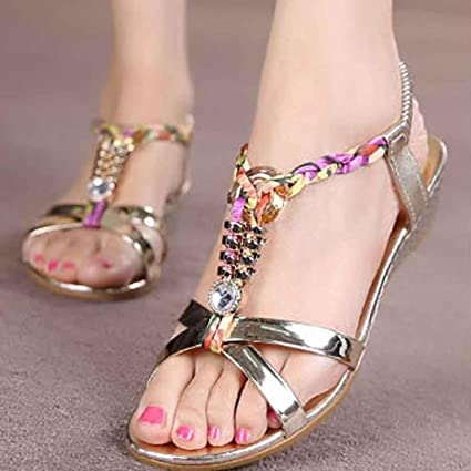 948431238148 Wensltd Women s Fashion Casual T-Strap Beaded Flat Dress Sandals Beach Shoes  (Gold
