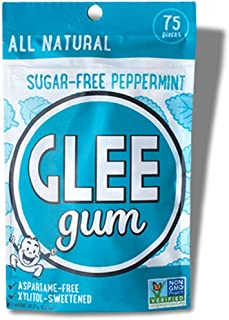product image for Glee Gum Chewing Gum, Sugar-Free Peppermint, 75 Pieces of Gum Per Pack (24 Pack)