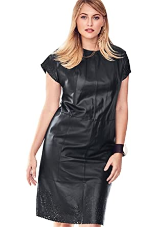 327878b9d457 Jessica London Women s Plus Size Leather Dress with Laser Cutouts - Black